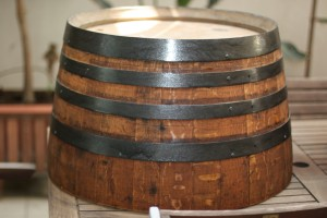 Planters oak barrels in Barcelona