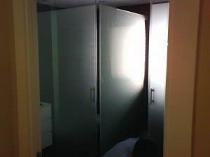 Shower screen with tempered glass matte acid in Barcelona