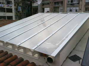 Cellular polycarbonate roof patio lights