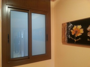 Aluminium window lacquered walnut wood b-7