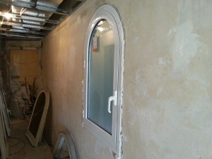 Aluminium window newly installed round spot