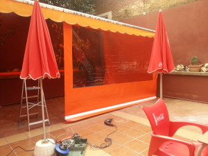 Transparent plastic canvas awnings