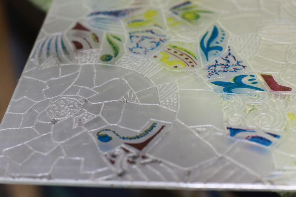 Matt etched translucent glass at color Gaudí model