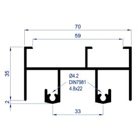 Shows sectional profile of the slide frame series S-300