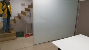 Office division with safety glass